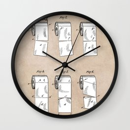 patent - Wheeler - Wrapping or Toilet paper roll - 1891 Wall Clock