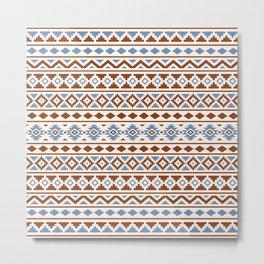 Aztec Essence Pattern II Rust Blue Cream Metal Print