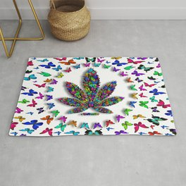 Butterflies Cannabis Leaf 3 Rug