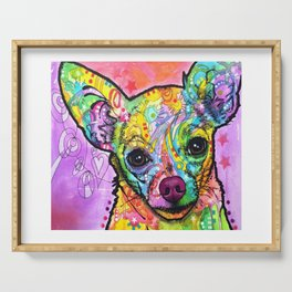 Colorful Chiwawa Dog - Colorful Chihuahua Dog Drawing - Dog Lover Gift Serving Tray