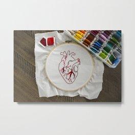 Heart design of handmade embroidery Metal Print