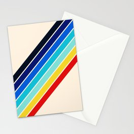 Darida - Classic 70s Vintage Style Retro Rainbow Stripes Stationery Cards