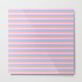 Blue Orange and Pink Pastel Cabana Stripes Metal Print