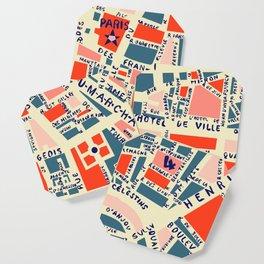paris map blue Coaster