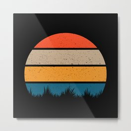 4 Color Tall Grass Cutout Retro Sunset Metal Print