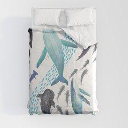 Sharks, Humpback Whales, Orcas & Turtles Ocean Play Print Comforters