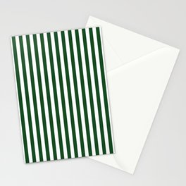 Original Forest Green and White Rustic Vertical Tent Stripes Stationery Cards