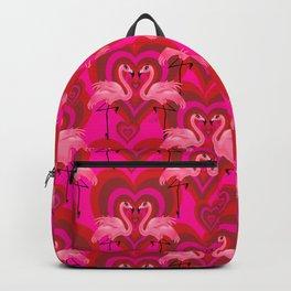 Retro Mod Flamingo Love Pattern Backpack