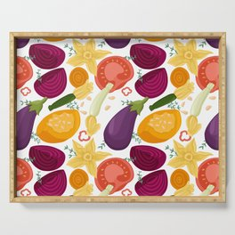 Vegetables seamless pattern in cartoon style. Tomatoes, avocado, bell peppers, zucchini, pumpkin, eggplants,beetroot. Serving Tray