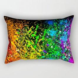Black Rainbow Color Splatter Rectangular Pillow