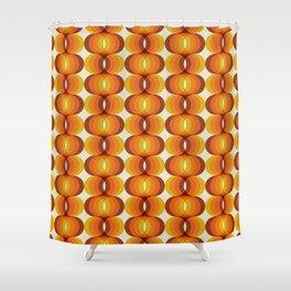 Orange, Brown, and Ivory Retro 1960s Wavy Pattern Shower Curtain
