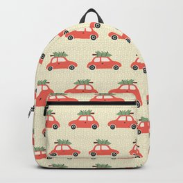 Red Vintage Christmas Cars Backpack