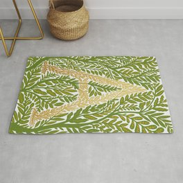 Botanical Metallic Monogram - Letter A Rug