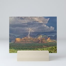 Lightning over Red Rock Wilderness Mini Art Print