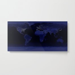 Planet Earth at Night from Orbit Metal Print