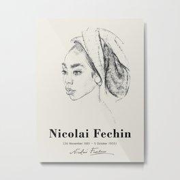 Vintage poster-Nicolai Fechin-Pencil drawing. Metal Print