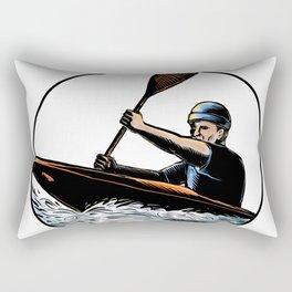 Kayak Paddler Canoe Scratchboard Rectangular Pillow