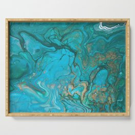 Malachite Flows - Abstract Acrylic Pour Art by Fluid Nature Serving Tray