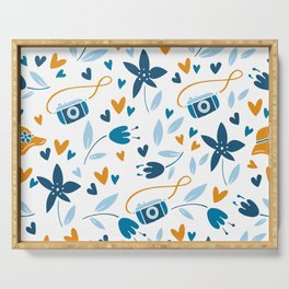 Cameras and Botanicals Modern Art Abstract Pattern Serving Tray