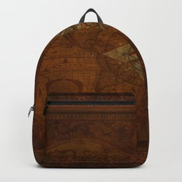 Antique Steampunk Compass Rose & Map Backpack