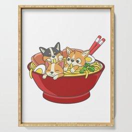 Japanese Corgi Ramen Kawaii Ramen Noodle Life Serving Tray