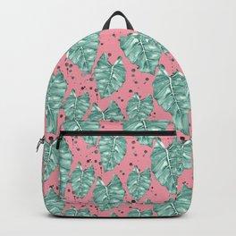 Watercolor tropical leaves pattern Backpack