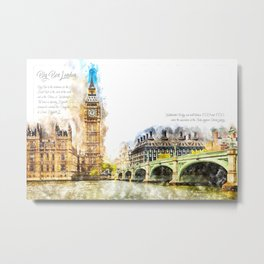 Big Ben, London, Aquarell Metal Print