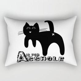 A is for ASSHOLE Cat design grunge font Rectangular Pillow