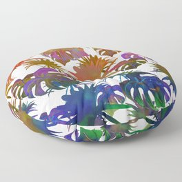 Abstract modern pink teal lavender watercolor tropical leaves Floor Pillow
