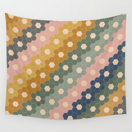 Hexagon Flowers Wall Tapestry