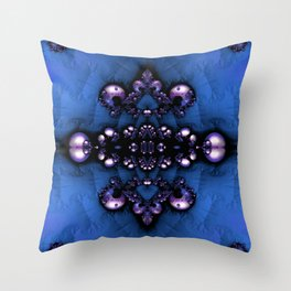 Regal Brooch Blue Throw Pillow