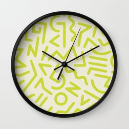 Chartreuse abstract line art 16 Wall Clock