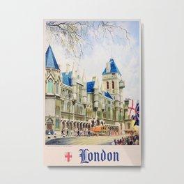 London Vintage Travel Poster Metal Print