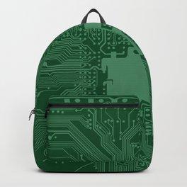 Green Geek Motherboard Circuit Pattern Backpack
