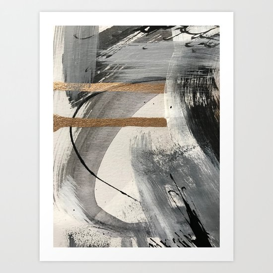 Armor [7]: a bold minimal abstract mixed media piece in gold, black and white by blushingbrushstudio