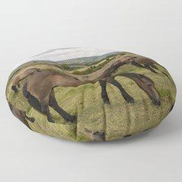 Exmoor Ponies at Winsford Hill  Floor Pillow