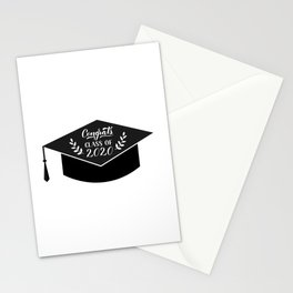 Congrats Class of 2020 hand written on graduation hat. Congratulations to graduates Stationery Cards