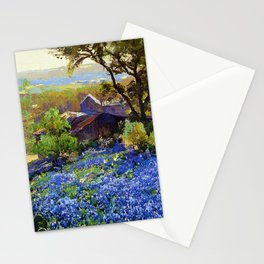 Bluebonnets at the Quarry Texas landscape desert painting by Robert Julian Onderdonk Stationery Cards