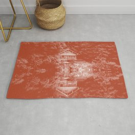 boathouse rust tone washed out effect aesthetic landscape art photography Rug