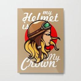 My Helmet is my Crown Metal Print