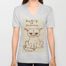 Keep Grumpy and Do Nothing - Cat drawning Unisex V-Neck