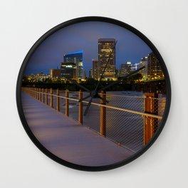 T. Tyler Potterfield Memorial Bridge At Night Wall Clock