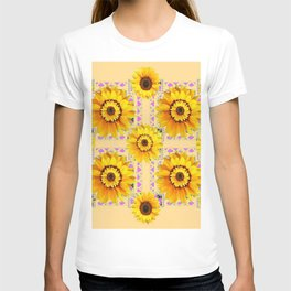 CREAM COLOR WESTERN STYLE YELLOW SUNFLOWERS T-shirt