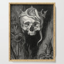 Skull Crowned with Snakes and Flowers by Henry Weston Keen Serving Tray