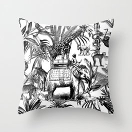 Africa Meets India Black And White Throw Pillow