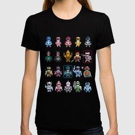 Nostalgic Retro gaming pixel tokusatsu sentai heroes. T-shirt