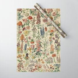 French Vintage Flowers Chart Adolphe Millot Fleurs Larousse Pour Tous Poster  Wrapping Paper