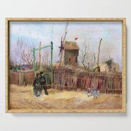 """Vincent Van Gogh """"Scène de rue à Montmartre (Impasse des Deux Frères et le Moulin à Poivre)"""" Serving Tray"""