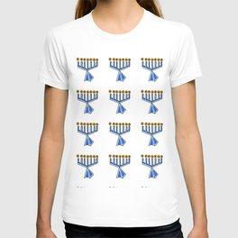 menorah 7,Hanukkah,jewish,jew,judaism,Festival of Lights,Dedication,jerusalem,lampstand,Temple, מְנו T-shirt