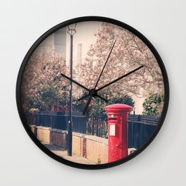 Red Postbox In Spring Wall Clock